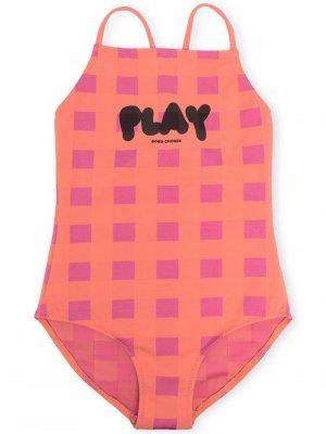 Клетчатый купальник с глубоким вырезом на спине Bobo Choses. Цвет: розовый