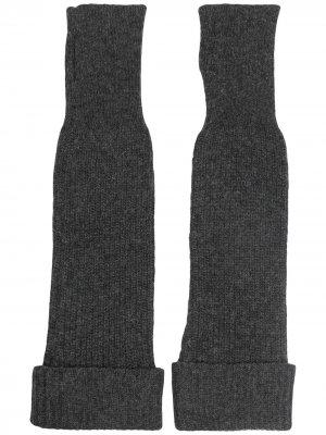Длинные перчатки-митенки GANNI. Цвет: серый