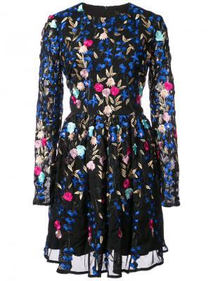 Коктейльное расклешенное платье Badgley Mischka. Цвет: чёрный