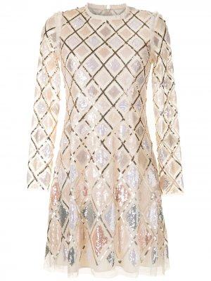 Платье из тюля с пайетками Needle & Thread. Цвет: нейтральные цвета