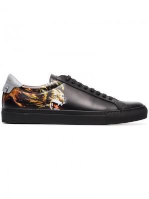 Кроссовки с принтом льва и тиснением логотипа Givenchy. Цвет: черный