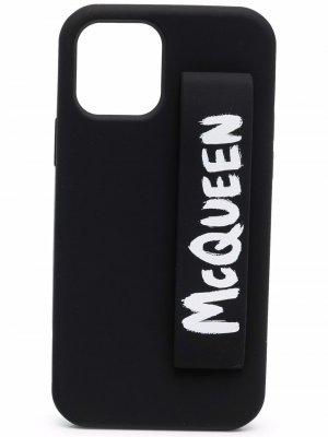 Чехол для iPhone 12 Pro с логотипом Alexander McQueen. Цвет: черный