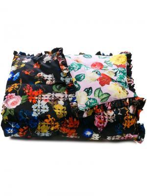 Стеганое одеяло с цветочным принтом Preen By Thornton Bregazzi. Цвет: черный