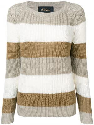 Трикотажный свитер в полоску Les Copains. Цвет: нейтральные цвета