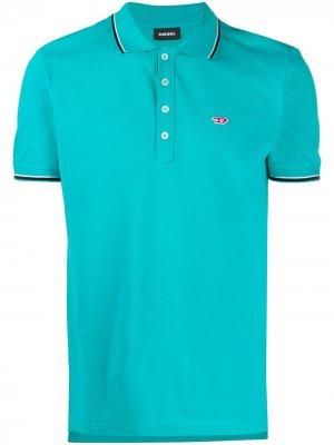 Рубашка-поло с вышитым логотипом Diesel. Цвет: синий
