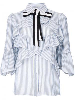 Рубашка в полоску с оборкой и бантом Marco Bologna. Цвет: синий