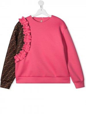 Толстовка асимметричного кроя с логотипом Fendi Kids. Цвет: розовый