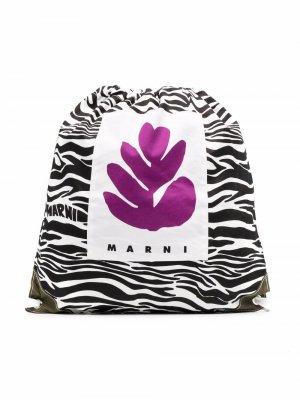 Рюкзак с зебровым принтом Marni Kids. Цвет: черный