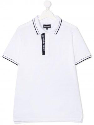 Рубашка поло с контрастными полосками Emporio Armani Kids. Цвет: белый
