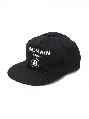 Кепка с логотипом Balmain Kids. Цвет: черный