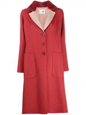 Пальто с контрастным воротником Manzoni 24. Цвет: розовый