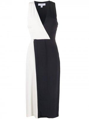 Платье миди в стиле колор-блок Equipment. Цвет: белый