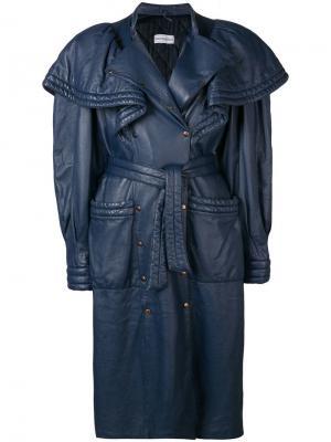 Пальто в стиле оверсайз 1980-х годов Rocco Barocco Vintage. Цвет: синий