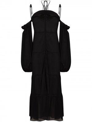 Semi-sheer off-shoulder midi dress SLEEPING WITH JACQUES. Цвет: черный