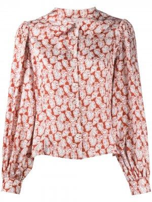 Блузка с пышными рукавами и принтом Shrimps. Цвет: красный