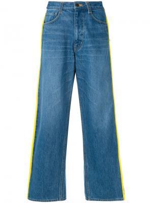 Широкие укороченные джинсы Facetasm. Цвет: синий