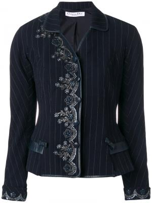 Жакет с вышивкой pre-owned Christian Dior. Цвет: синий