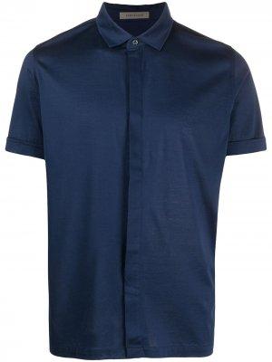 Рубашка с вышитым логотипом Corneliani. Цвет: синий