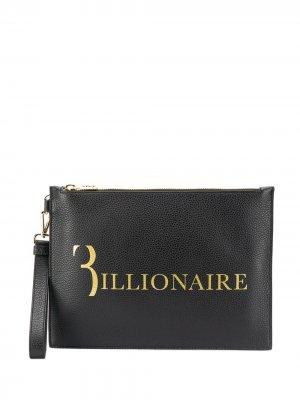 Клатч с логотипом Billionaire. Цвет: черный