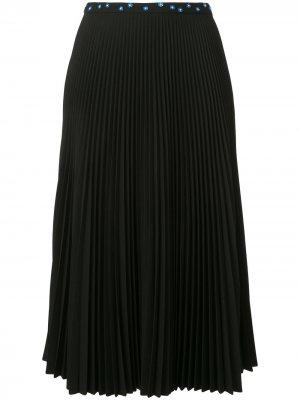 Плиссированная юбка с кристаллами Markus Lupfer. Цвет: черный