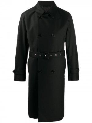 Двубортное пальто с поясом Mackintosh. Цвет: черный