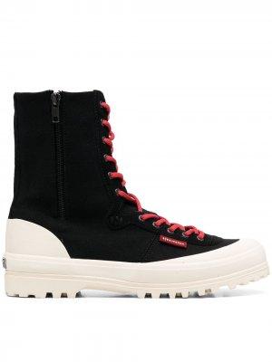 Кроссовки с контрастной шнуровкой Superga. Цвет: черный