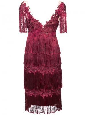 Платье с отделкой из бахромы Marchesa Notte. Цвет: красный
