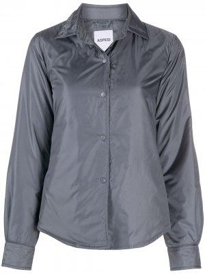Дутая куртка-рубашка с закругленным подолом Aspesi. Цвет: серый