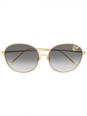 Солнцезащитные очки в круглой оправе с логотипом Linda Farrow. Цвет: золотистый
