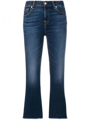 Frayed stonewashed bootcut jeans 7 For All Mankind. Цвет: синий