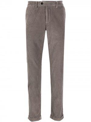 Вельветовые брюки кроя слим Seventy. Цвет: серый
