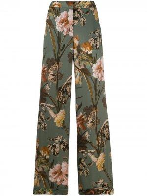 Расклешенные брюки с цветочным принтом Off-White. Цвет: зеленый