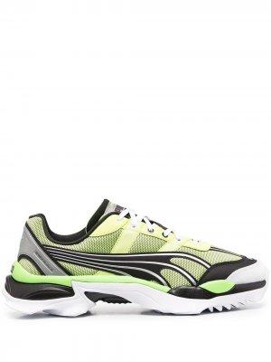 Сетчатые кроссовки в стиле колор-блок Puma. Цвет: зеленый