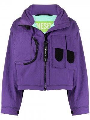 Куртка Green Label со съемными рукавами Diesel. Цвет: фиолетовый