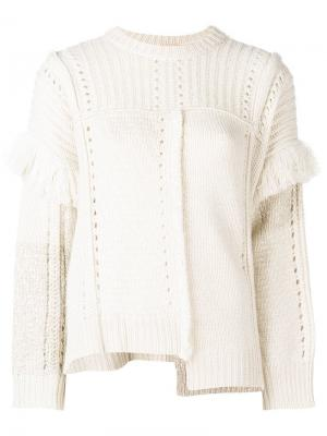 Вязаный свитер с бахромой и люверсами Nude. Цвет: нейтральные цвета
