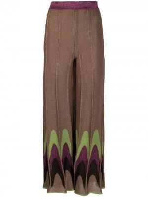Расклешенные трикотажные брюки Missoni. Цвет: коричневый