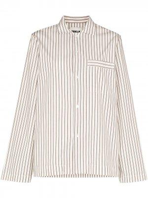 Пижамная рубашка в полоску TEKLA. Цвет: белый