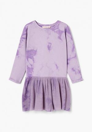 Платье Mango Kids. Цвет: фиолетовый