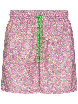 Плавки-шорты Moorea с геометричным принтом Vilebrequin. Цвет: розовый