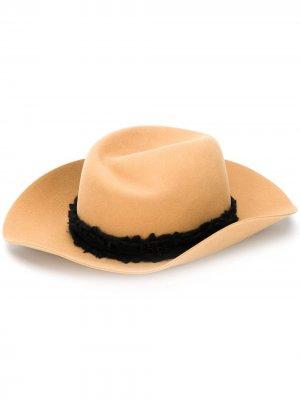 Шляпа с контрастной лентой Maison Michel. Цвет: коричневый