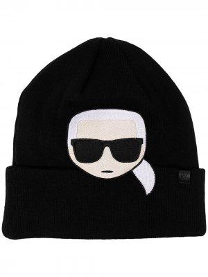 Шапка бини K/Ikonik с вышивкой Karl Lagerfeld. Цвет: черный