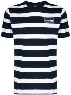 Полосатая футболка из органического хлопка Paul & Shark. Цвет: синий
