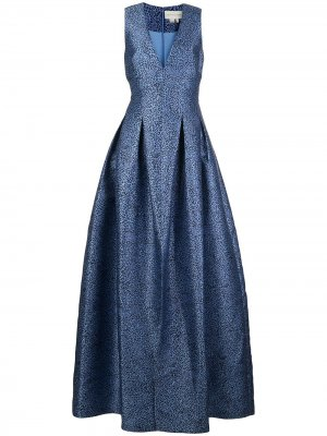 Платье Brooke с V-образным вырезом и анималистичным принтом Sachin & Babi. Цвет: синий
