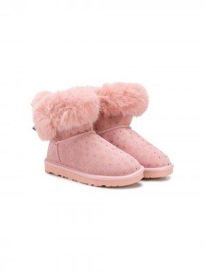 Декорированные ботинки Monnalisa. Цвет: розовый
