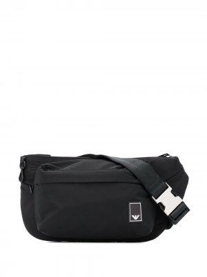 Поясная сумка с нашивкой-логотипом Emporio Armani. Цвет: черный