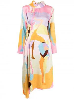 Платье Dance асимметричного кроя с принтом Stine Goya. Цвет: розовый
