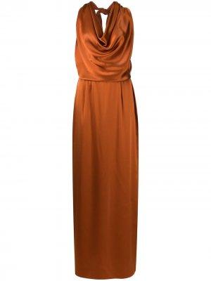 Вечернее платье с вырезом халтер VOZ. Цвет: оранжевый