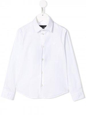 Рубашка с вышитым логотипом Emporio Armani Kids. Цвет: белый
