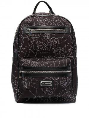 Рюкзак с цветочным принтом Les Hommes. Цвет: черный