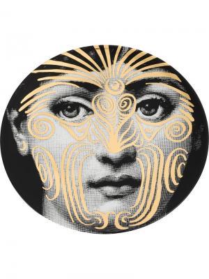 Тарелка с принтом лица Fornasetti. Цвет: разноцветный